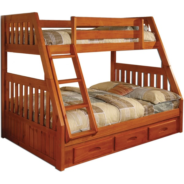 shop solid pine twin over full bunk bed with drawers free shipping today 9249233. Black Bedroom Furniture Sets. Home Design Ideas