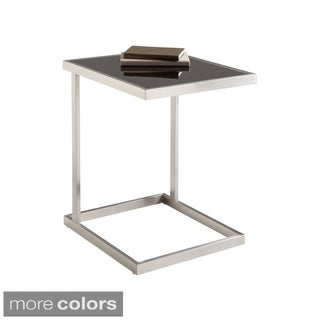 Sunpan 'Ikon' Nicola Brushed Stainless Steel/ Tempered Glass End Table