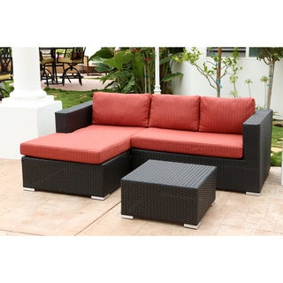 ABBYSON LIVING Ventura Outdoor Black Wicker Sectional and Table Set