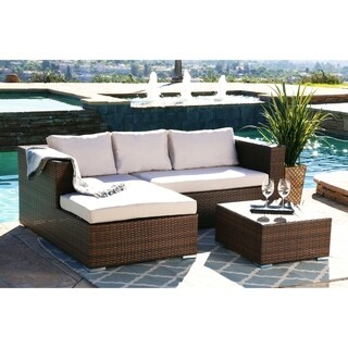 ABBYSON LIVING Palermo Outdoor Brown Wicker Sectional and Table Set