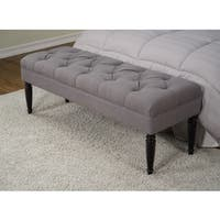 Claudia Diamond Wale Grey Tufted Bench