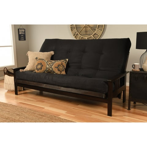Clay Alder Home DeSoto Hardwood/ Suede Queen-size Futon Sofa Bed with Innerspring Mattress