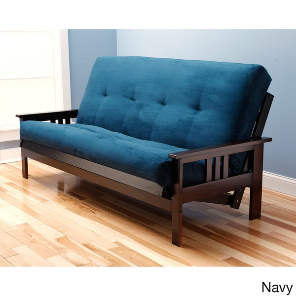 somette monterey queen size futon sofa bed with suede innerspring mattress free shipping today. Black Bedroom Furniture Sets. Home Design Ideas