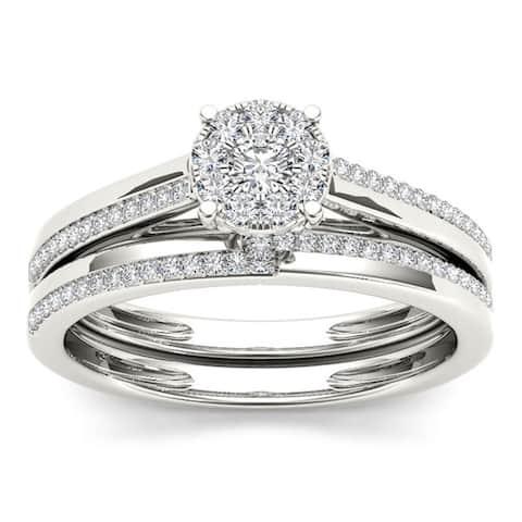 De Couer IGI Certified 10k Gold 1/3ct TDW Diamond Engagement Ring Set