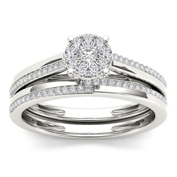 De couer 10k white gold 1 3ct tdw diamond engagement ring
