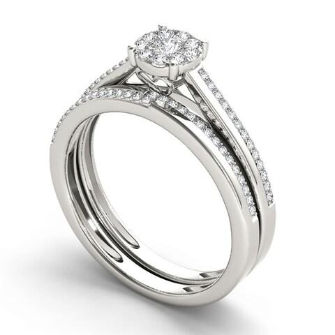 De Couer 10k Gold 1/3ct TDW Diamond Engagement Ring Set