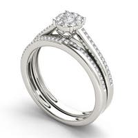 De Couer 10k Gold 1/3ct TDW Diamond Engagement Ring Set