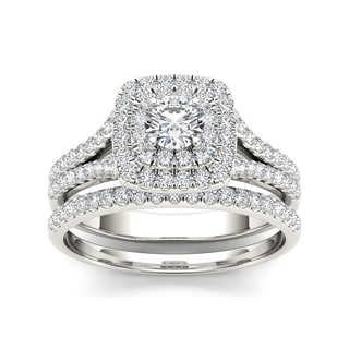 De Couer 10k White Gold 1ct TDW Diamond Double Halo Engagement Ring (H-I, I1-I2)