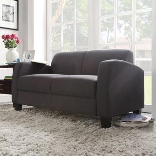 TRIBECCA HOME Clove Dark Grey Linen Contemporary Loveseat