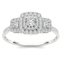 De Couer  IGI Certified 10k White Gold 1/2ct TDW Diamond Double Halo Engagement Ring