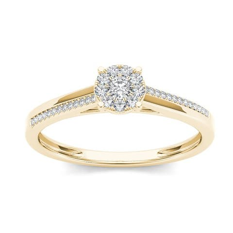De Couer IGI Certified 10k Gold 1/6ct TDW Diamond Composite Engagement Ring