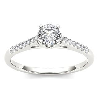 De Couer 10k White Gold 1/2ct TDW Diamond Solitaire Engagement Ring