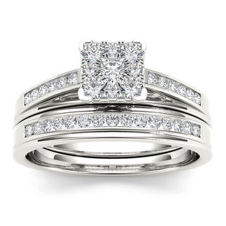 De Couer 10k White Gold 1/2ct TDW Diamond Square Shape Bridal Set