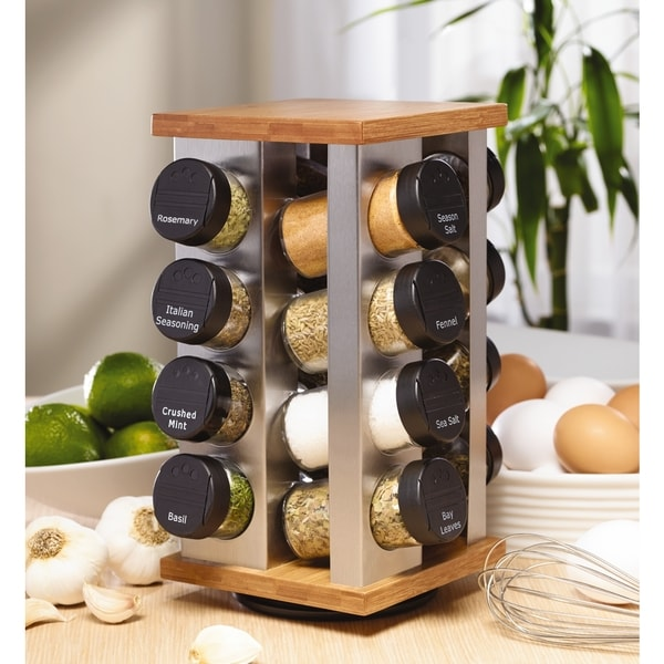 Shop Kamenstein Warner Stainless Steel and Bamboo 16-jar Spice Rack - Free  Shipping On Orders Over  45 - Overstock.com - 9250435 e1d14e8613