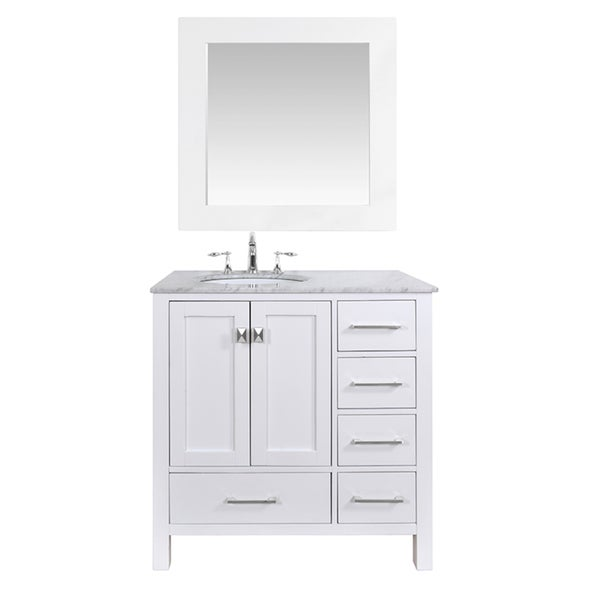 Shop 36 inch malibu pure white single sink bathroom vanity with 35 inch mirror free shipping for White bathroom vanity 36 inch