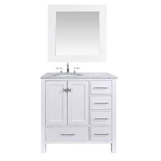 36-inch Malibu Pure White Single Sink Bathroom Vanity with 35-inch Mirror