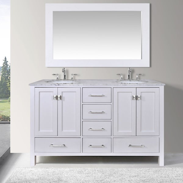 60inch malibu pure white double sink bathroom vanity cabinet with 59inch mirror - 60 Inch Vanity