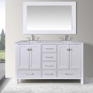 60-inch Malibu Pure White Double Sink Bathroom Vanity Cabinet with 59-inch Mirror