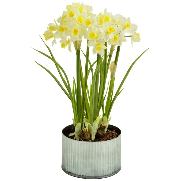 Faux Daffodils in Metal Planter
