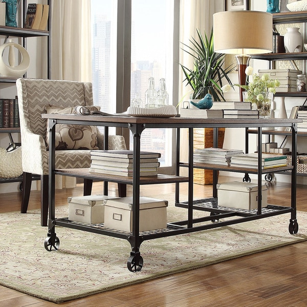 Nelson Industrial Modern Rustic Storage Desk by iNSPIRE Q  : Nelson Industrial Modern Rustic Storage Desk by TRIBECCA HOME 510e30cd bc80 4e63 865b c116535703b9600 from www.overstock.com size 600 x 600 jpeg 128kB
