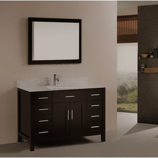 Kokols Single Sink Bathroom Vanity Set with Marble Top and Mirror