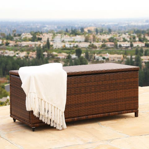 Abbyson Palermo Outdoor Brown Wicker Storage Ottoman