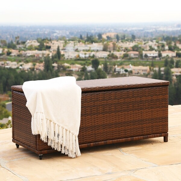"Abbyson Palermo Outdoor Brown Wicker Storage Ottoman - 21"" x 20"" x 48"""