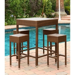 ABBYSON LIVING Palermo Outdoor Brown Wicker 5-piece Dining Bar Set