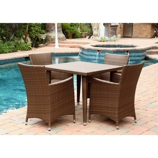 ABBYSON LIVING Palermo Outdoor Brown Wicker Square 5-piece Dining Set
