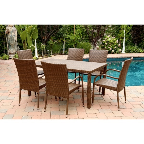 Abbyson living palermo outdoor brown wicker 7 piece dining for Belmont 4 piece brown wicker patio chaise lounge set