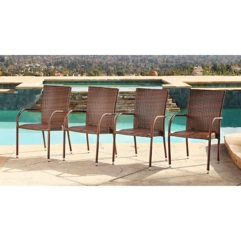 Abbyson Palermo Outdoor Wicker Armchairs (Set of 4)