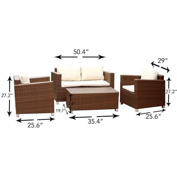 Strange Shop Abbyson Hampton Outdoor Wicker 4 Piece Sofa Set On Gamerscity Chair Design For Home Gamerscityorg