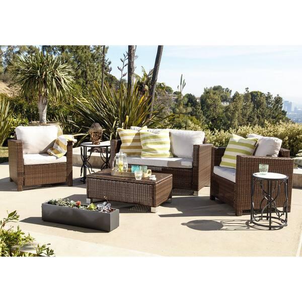 Enjoyable Shop Abbyson Hampton Outdoor Wicker 4 Piece Sofa Set On Gamerscity Chair Design For Home Gamerscityorg