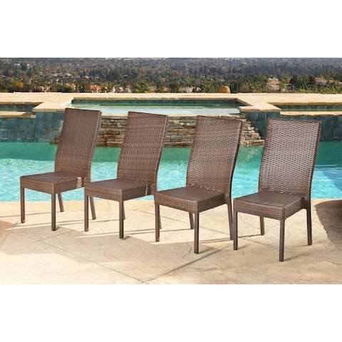 Abbyson Outdoor Palermo Wicker Dining Chair, Brown (Set of 4)