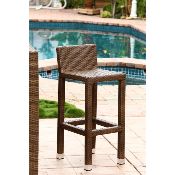 Abbyson Living Palermo Outdoor Brown Wicker Counter Stool