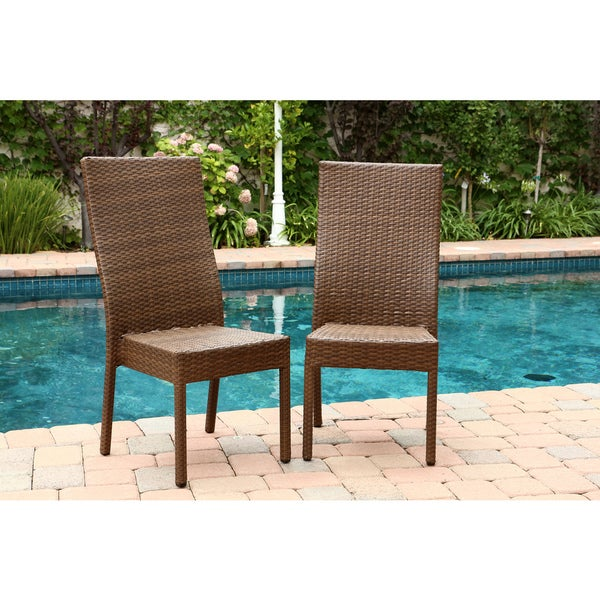 Abbyson Palermo Outdoor Brown Wicker Dining Chairs Set Of 2 Free Shipping