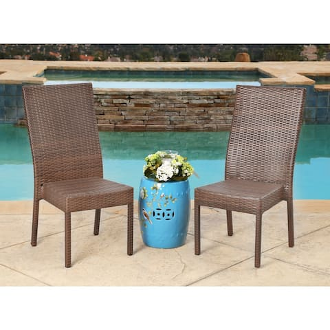 Abbyson Palermo Outdoor Brown Wicker Dining Chairs (Set of 2)
