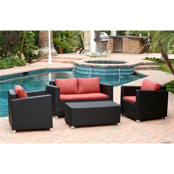 Abbyson Hampton Outdoor Wicker 4 Piece Sofa Set