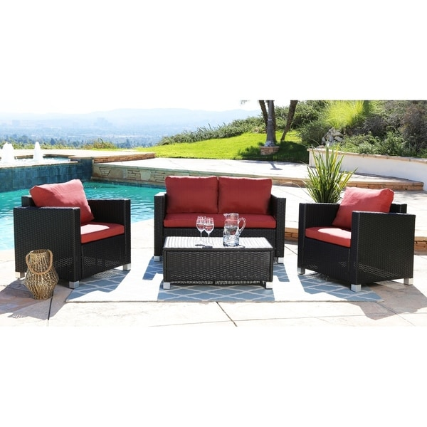 Abbyson Hampton Outdoor Wicker 4 Piece Sofa Set