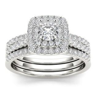 De Couer  IGI Certified 10k White Gold 1ct TDW Diamond Cushion Shape Double Halo Trilogy Engagement Ring Set