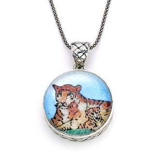 Micromosaic by Samuel B. Sterling Silver Crushed Multi-gemstone Tiger Pendant Necklace