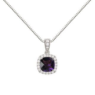 Sterling Silver Checkerboard Cushion Amethyst and Lab-created White Sapphire Halo Pendant Necklace