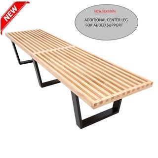 LeisureMod Modern Inwood Platform Natural Wood 6-foot Bench