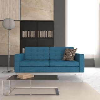 LeisureMod Lorane Modern Chambray Blue Twill Wool Studio Sofa