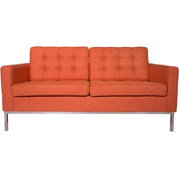 LeisureMod Lorane Modern Orange Twill Wool Fabric Studio Sofa