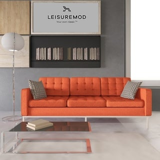LeisureMod Lorane Modern Orange Twill Wool Fabric Sofa