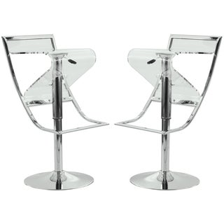 LeisureMod Clifton Transparent Acrylic Adjustable Bar/ Counter Stool (Set of 2)