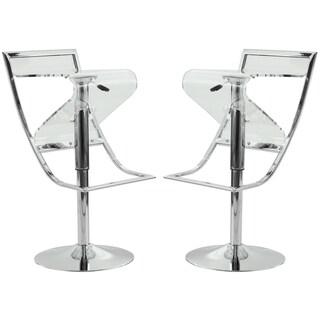 LeisureMod Clifton Transparent Acrylic Adjustable Bar/ Counter Stool (Set of 2)