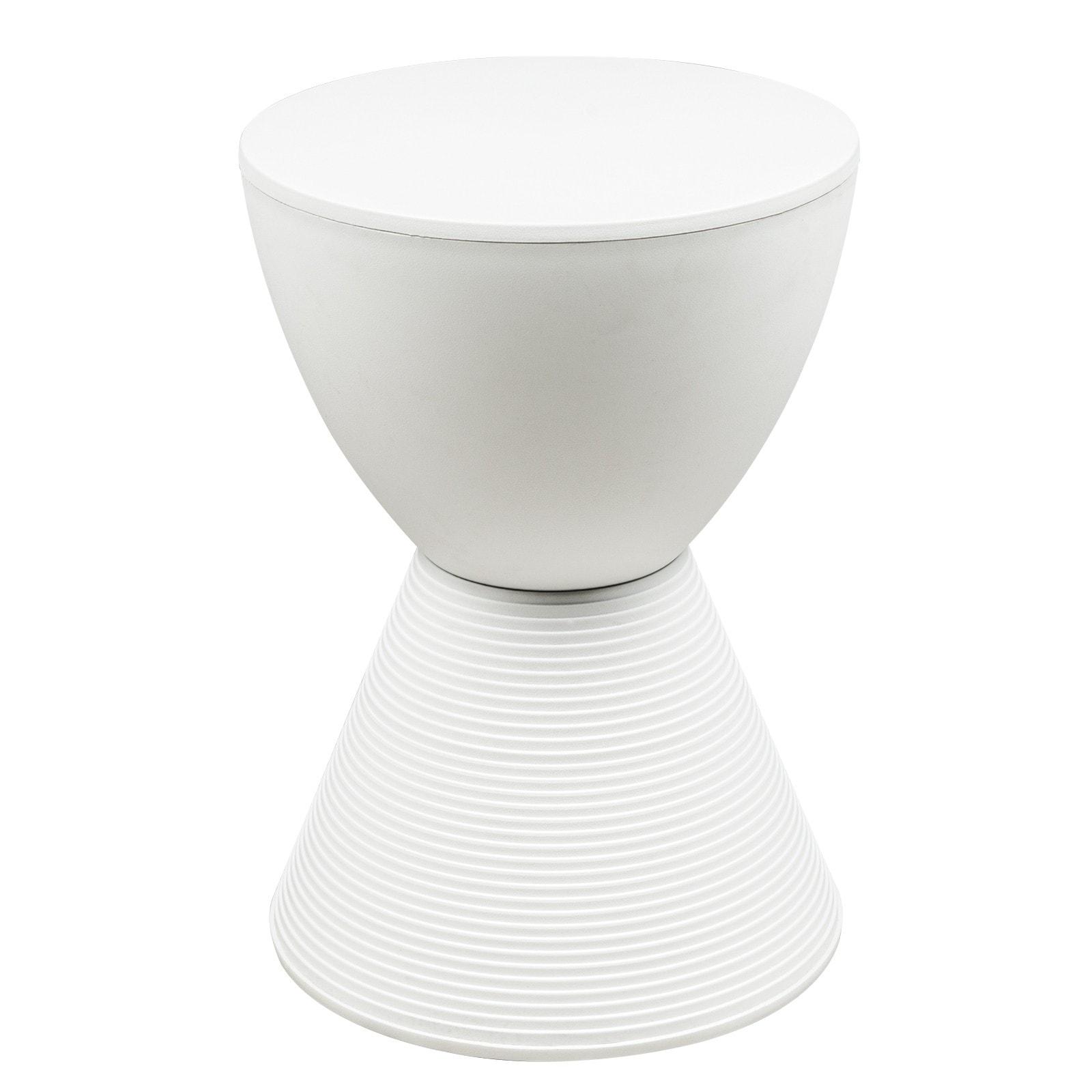 LeisureMod Modern Boyd Round White Side Table (Boyd Modern ABS Plastic Stool in White)