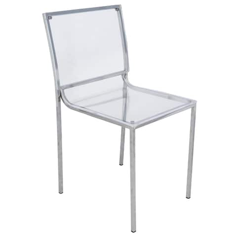 LeisureMod Almeda Lucite Acrylic Clear Dining Side Chair